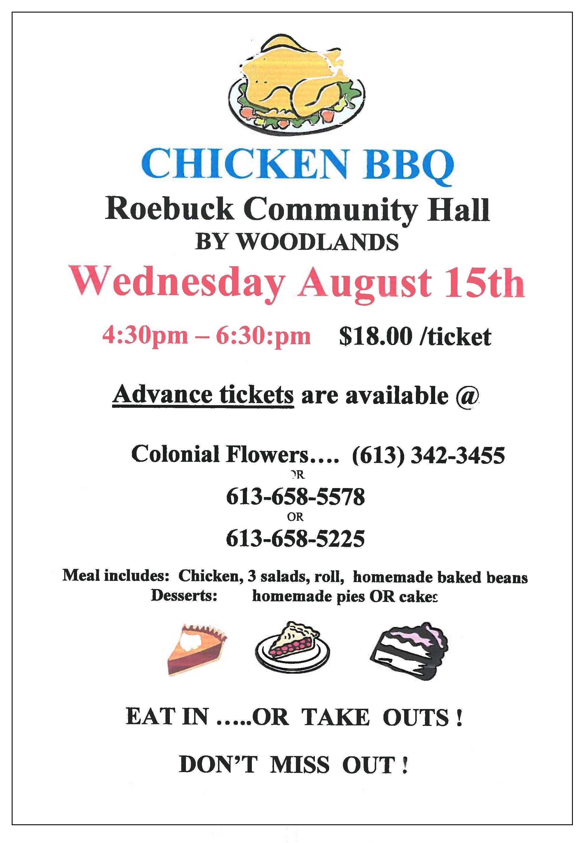 Roebuck Community Hall Chicken BBQ @ Roebuck Community Hall | Spencerville | Ontario | Canada