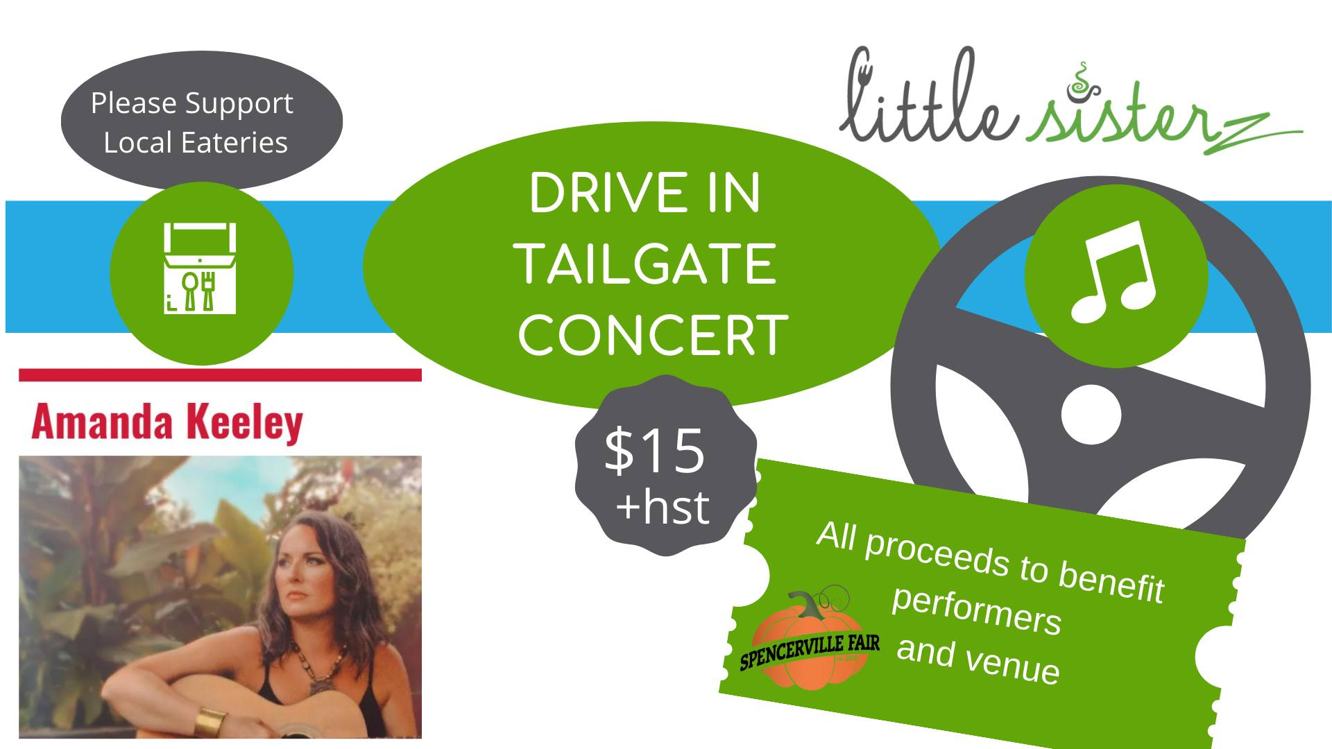 drive in tailgate concert $15+hst.