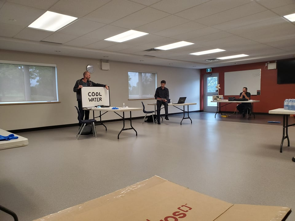 2 township staff members receiving first aid training