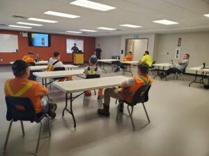 Public works staff receiving fire extinguisher use training