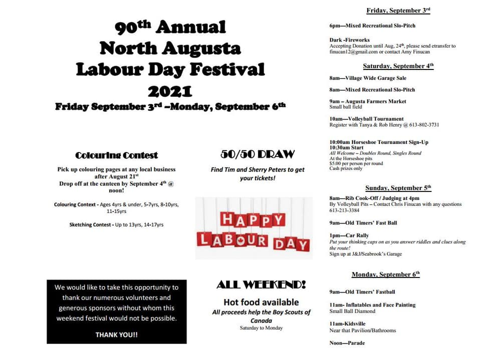 brochure for the north augusta labour day festival