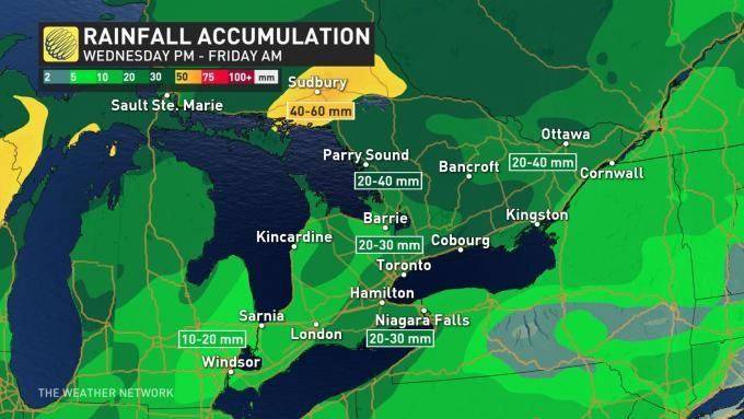map of ontario showing how much rain certain area are expected to get