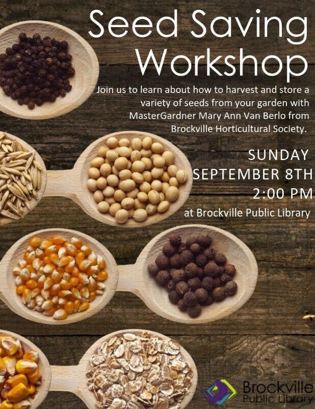 Seed Saving Workshop @ Brockville Public Library | Brockville | Ontario | Canada