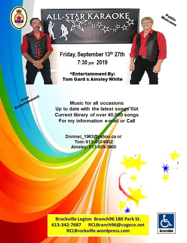 All-Star Karaoke @ Brockville Legion | Brockville | Ontario | Canada