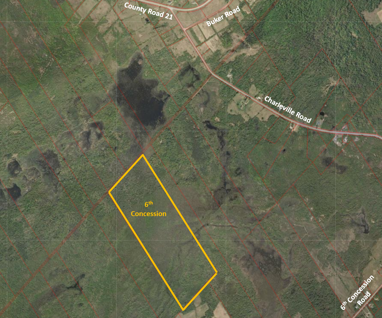 overhead view map of the 6th concession property
