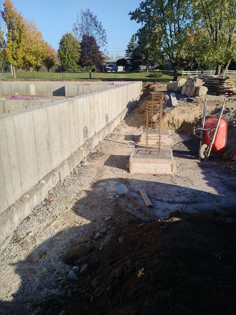 close up of footings and foundation wall