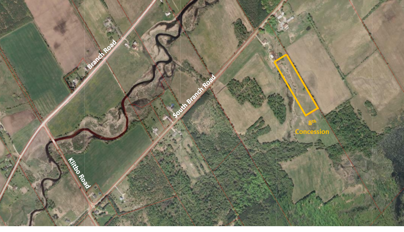 overhead view map of the 8th concession property
