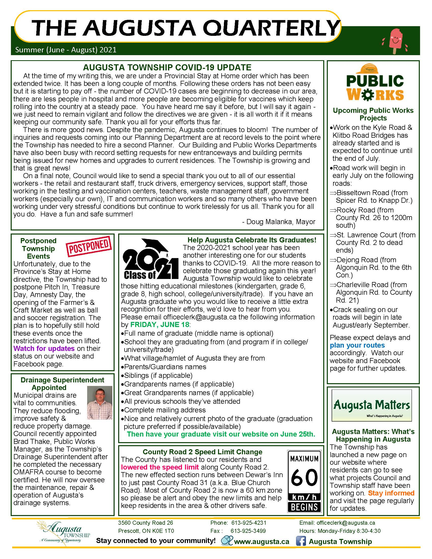 page 1 summer 2021 edition of the augusta quarterly newsletter