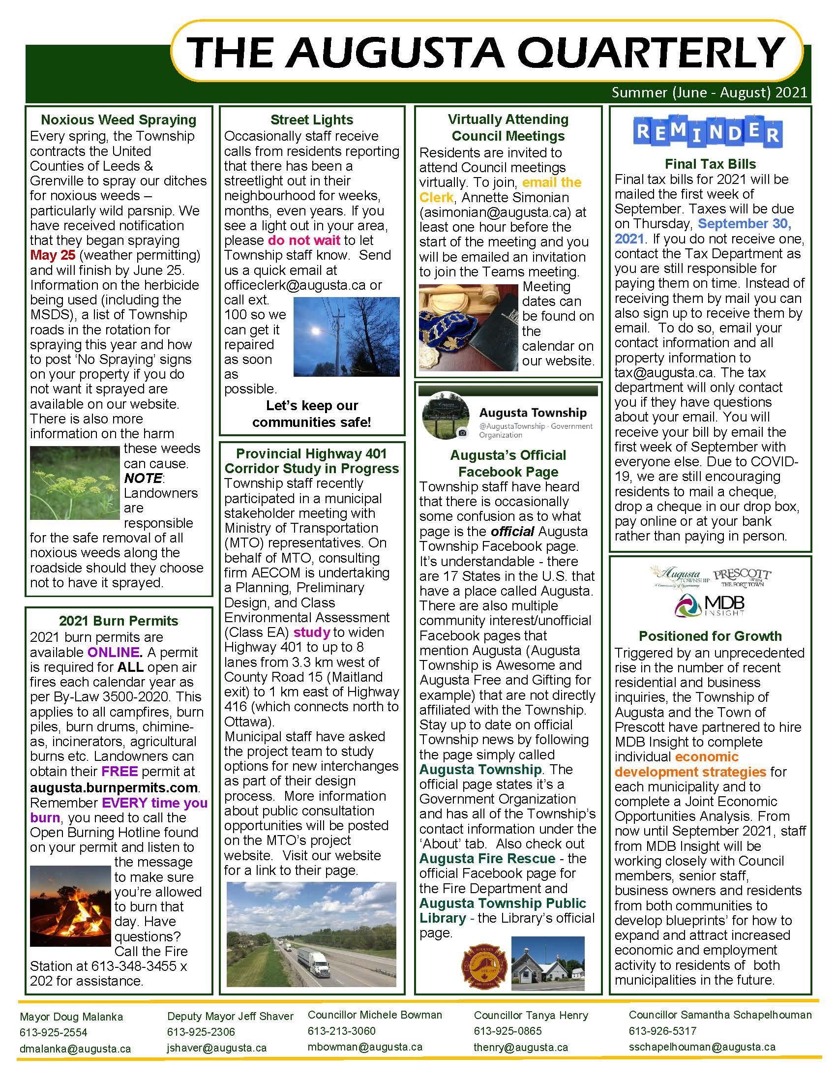 Page 2 summer 2021 augusta quarterly newsletter