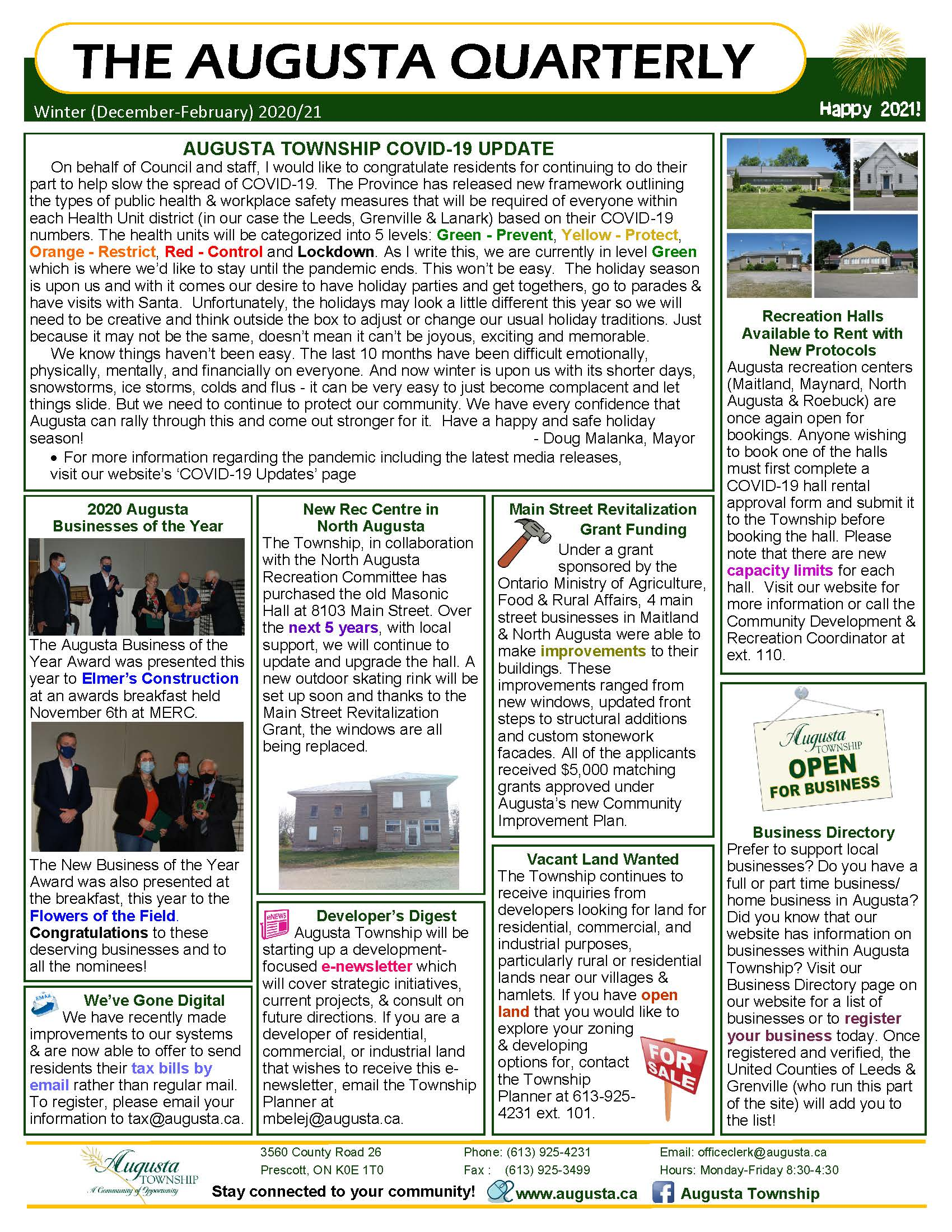 photo of the winter 2020 quarterly newsletter