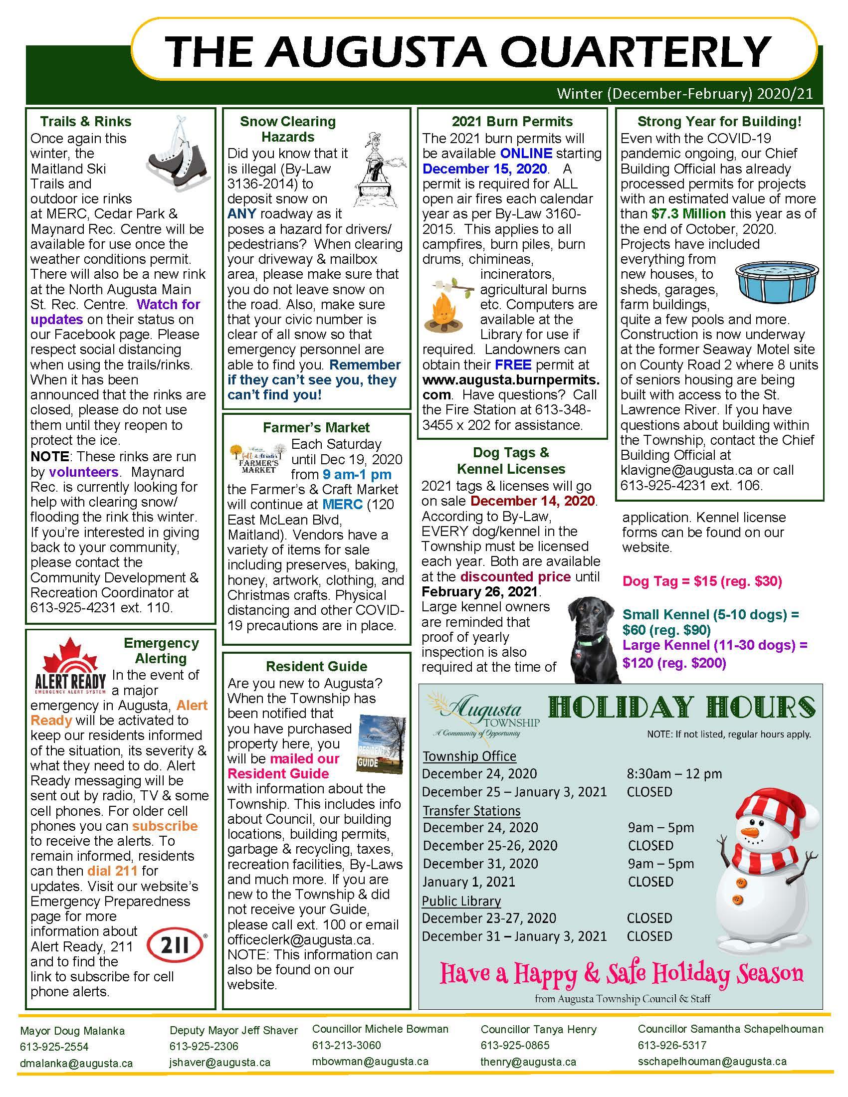 back of the winter 2020 quarterly newsletter