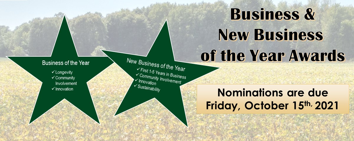 Business & New Business of the Year Award, nominations due Friday, October 15, 2021