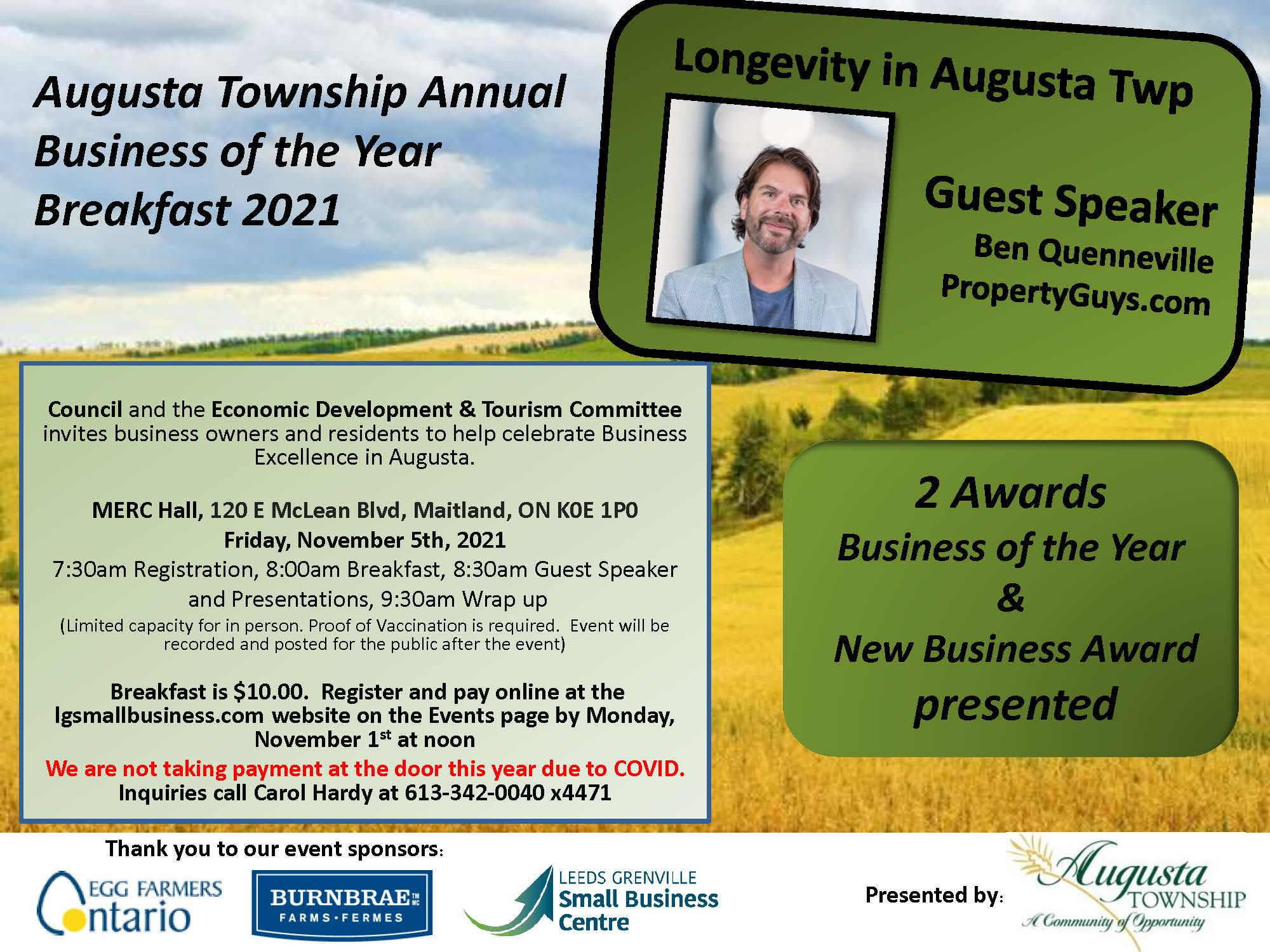 Business/New Business of the Year Award breakfast poster. November 5, 2021