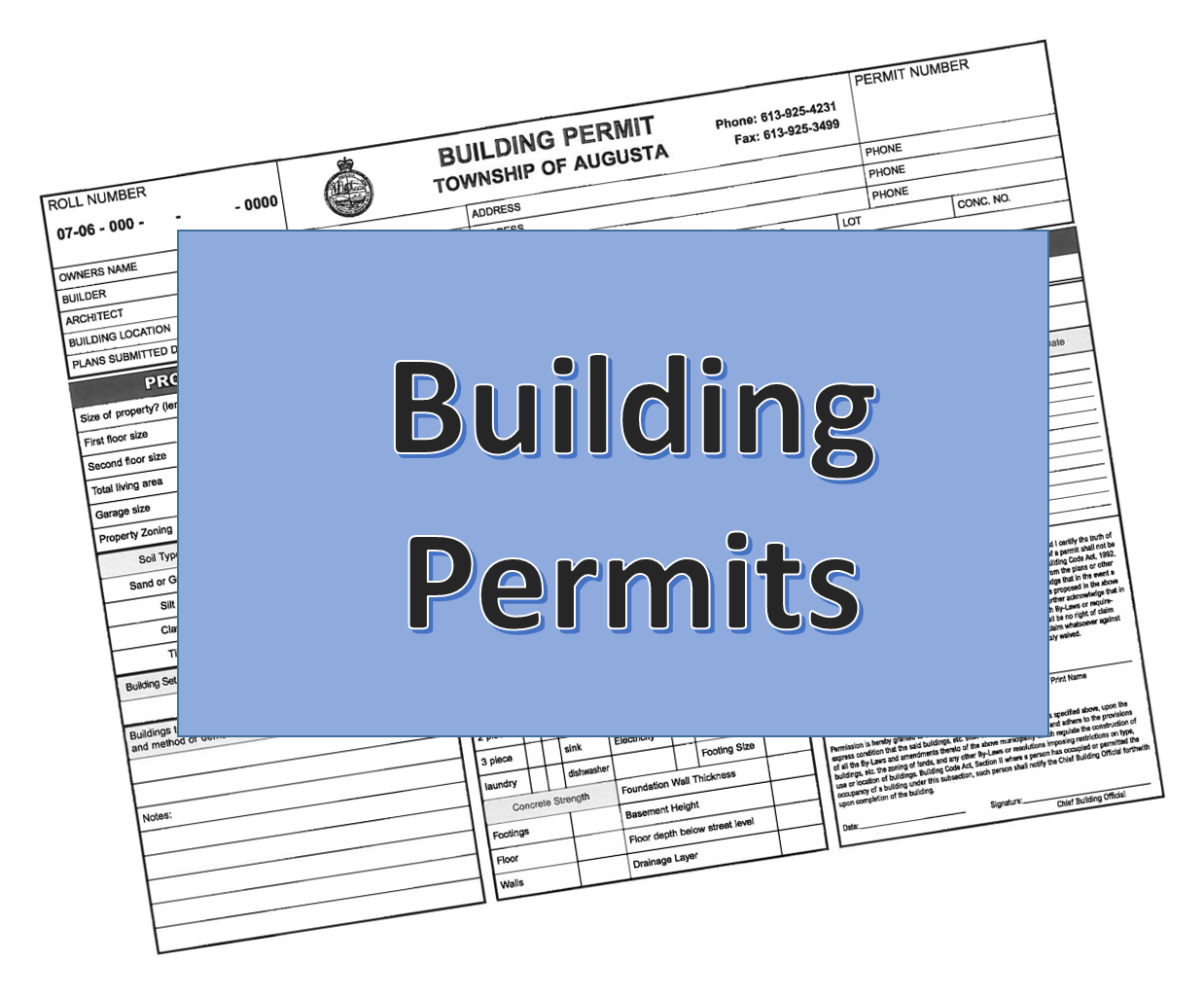 photo of a building permit form with a sign in front that says building permits