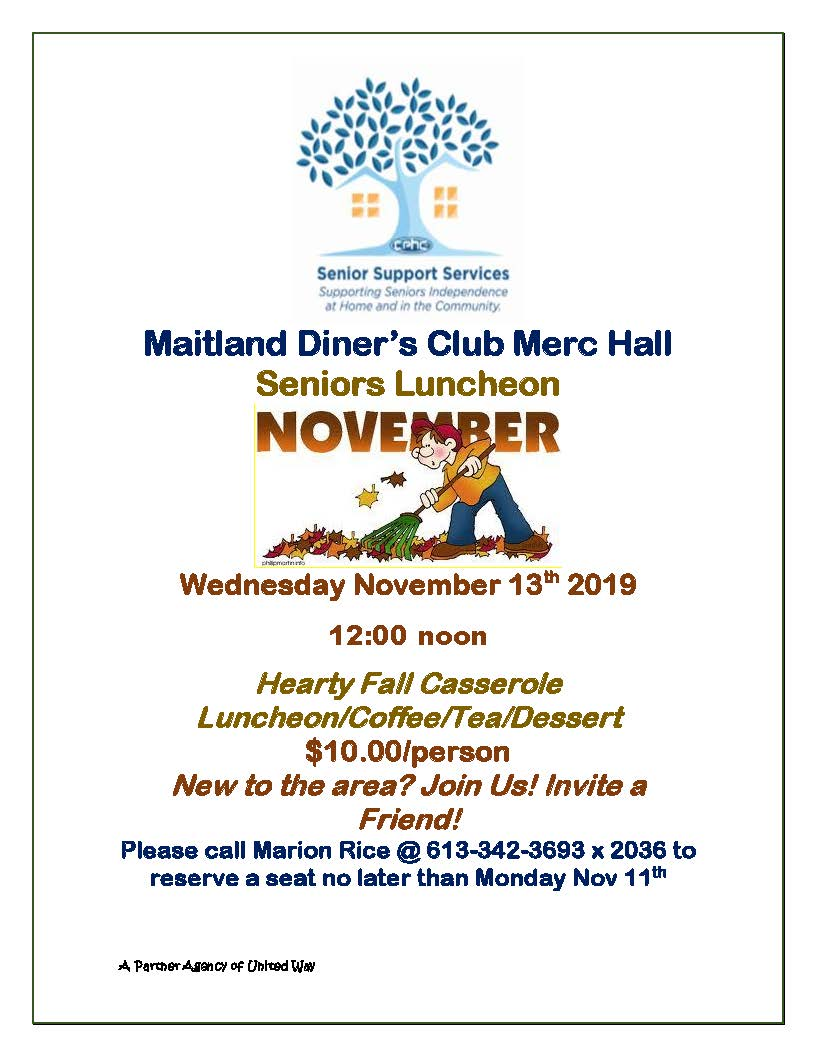 Maitland Diner's Club Senior's Luncheon @ Maitland Education & Recreation Centre | Brockville | Ontario | Canada