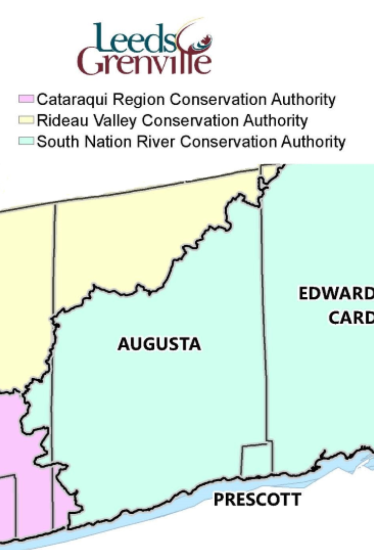 map showing where approximately the 3 different conservation authorities have authority within the township