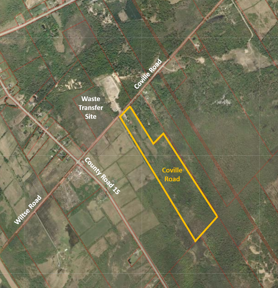 overhead view map of the coville road property