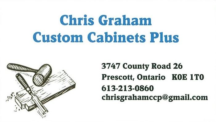 Chris Graham Custom Cabinets Plus business card