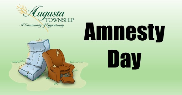 has picture of worn out mattress and chair and says Amnesty Day