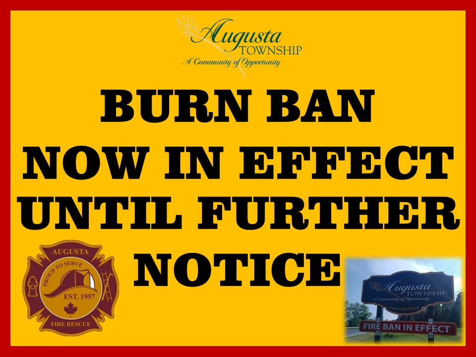 has augusta fire rescue & augusta township logos and photo of augusta township road sign with burn ban sign flipped