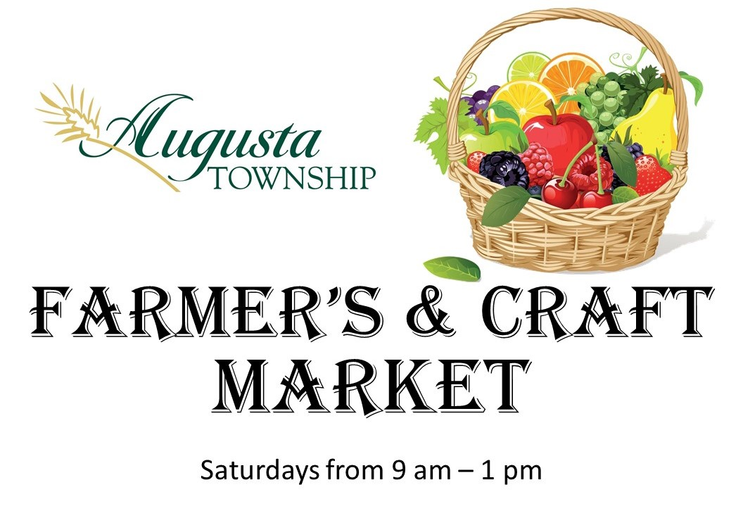 augusta logo. basket of fruit. farmer's and Craft market. Saturdays from 9 am - 1 pm.