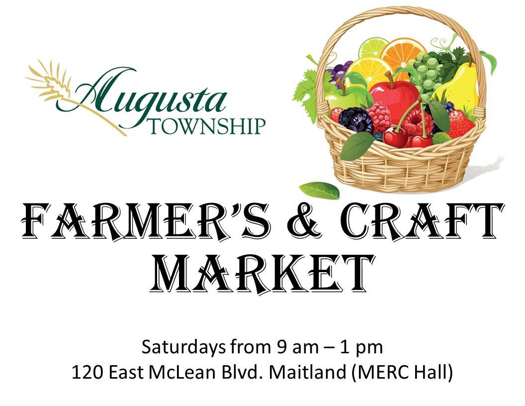 augusta logo with basket of fruit. says farmer's & craft market. Saturdays from 9-1pm. 120 east mclean blvd, maitland (MERC hall)