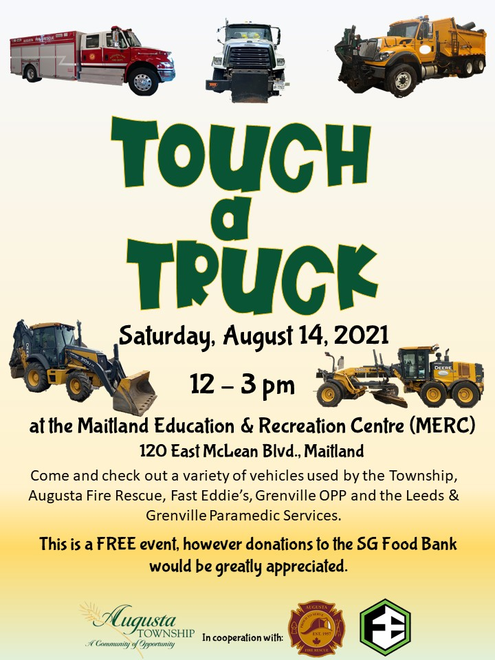 touch a truck poster. August 14, 2021, 12-3pm