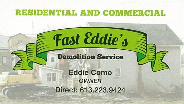 Fast Eddie's Demolition Service business card