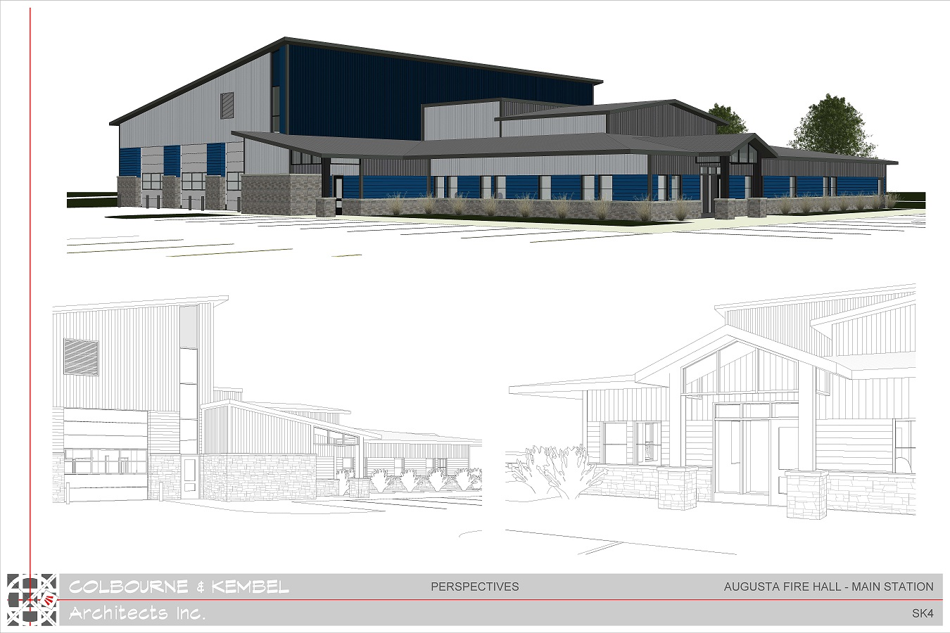 architect rendering of the new fire hall