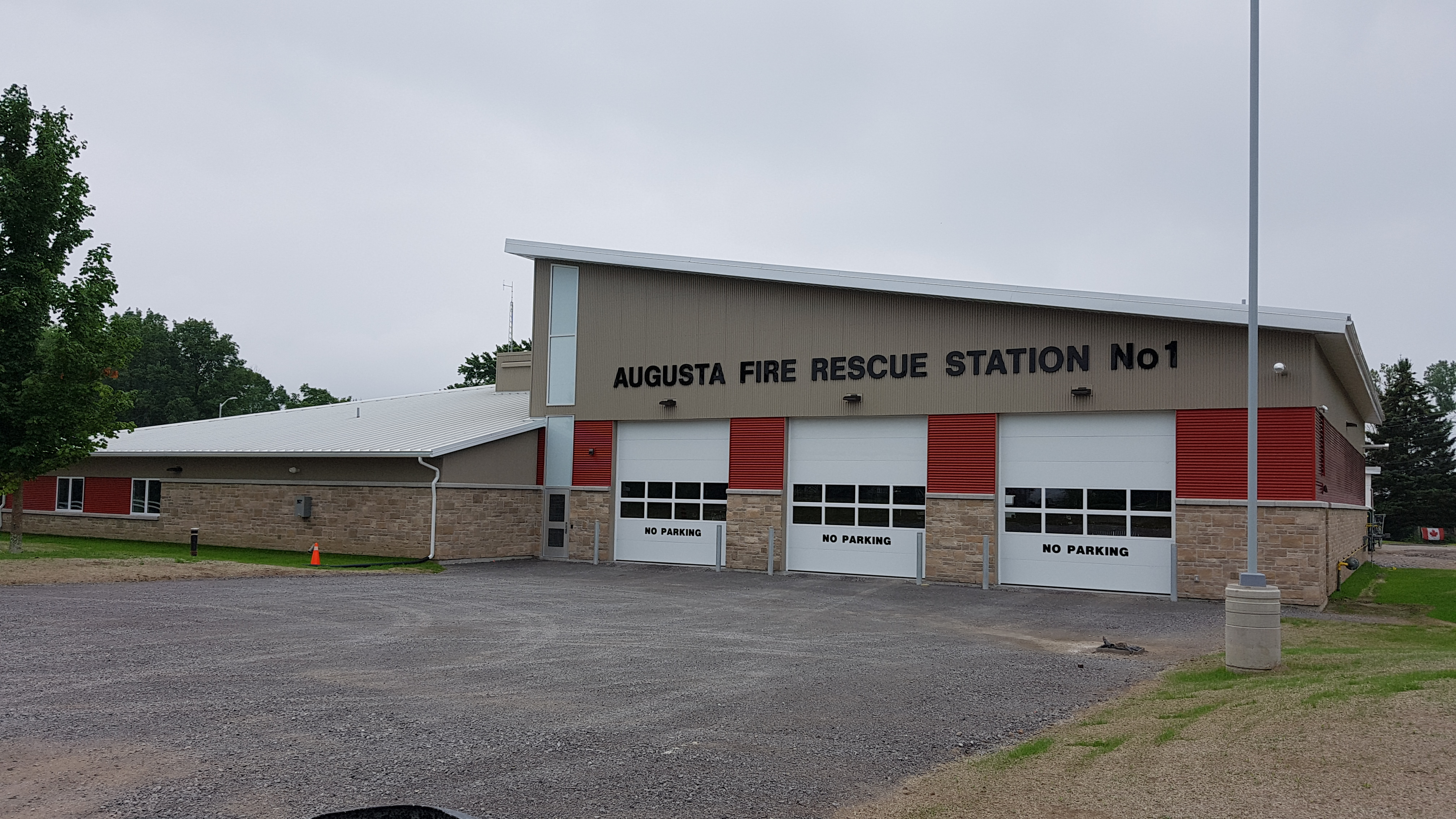 outside view of augusta fire rescue station 1 bay doors