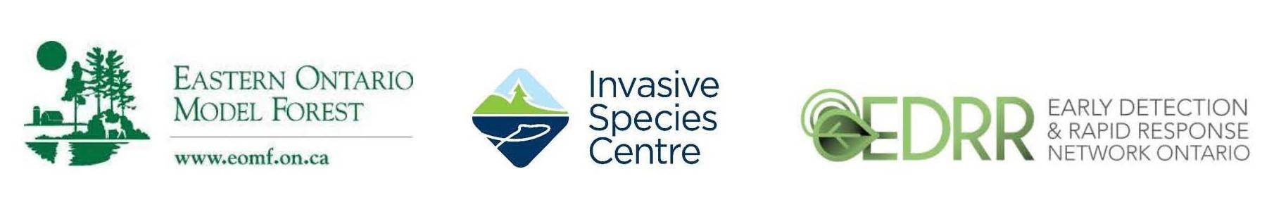 logos for EOMF, the Invasive Species Centre & EDRR