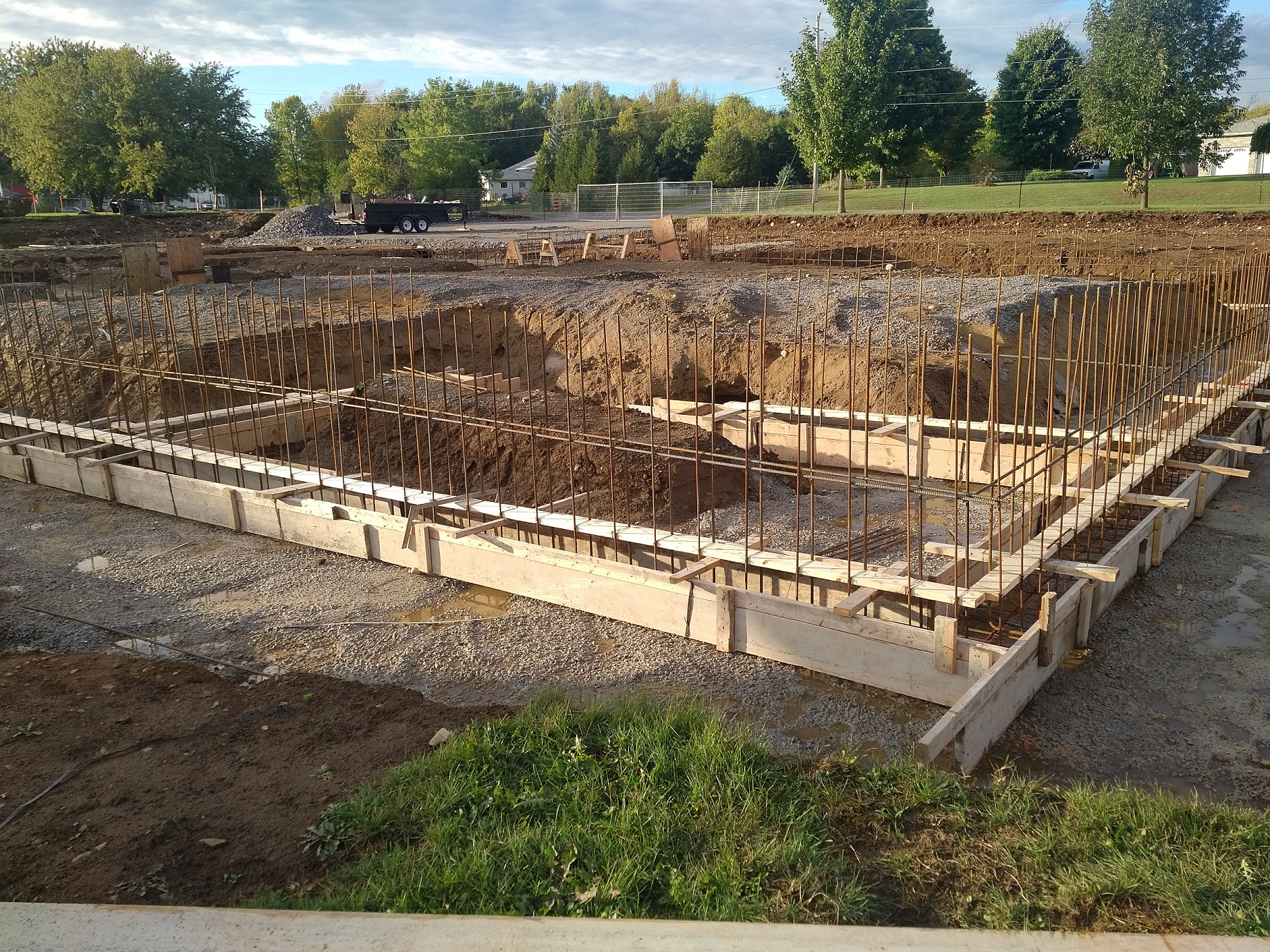 forms and rebar in place for foundation walls
