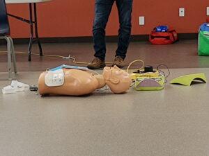 first aid training dummy and debribrilator