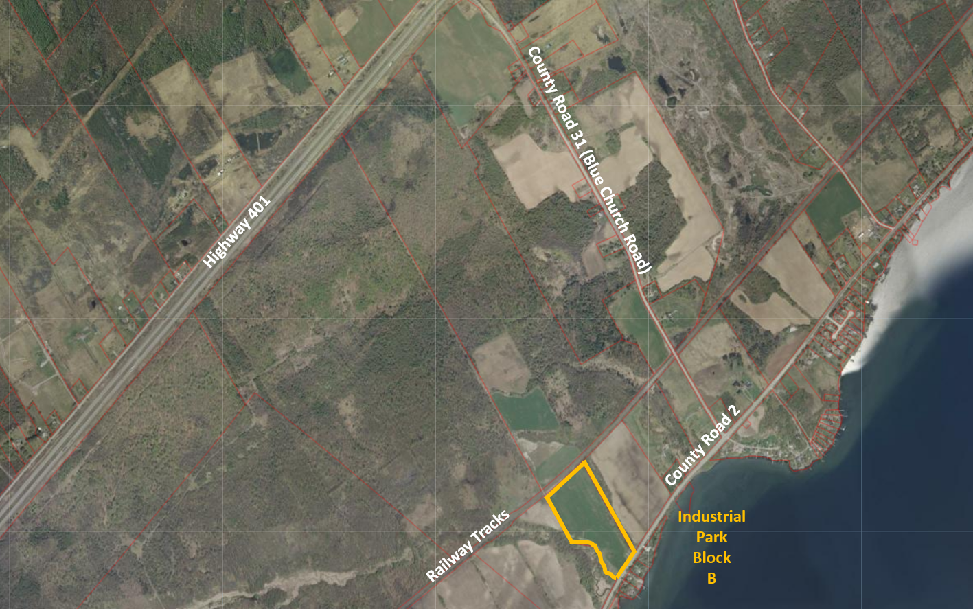 overhead map of the industrial park block B property
