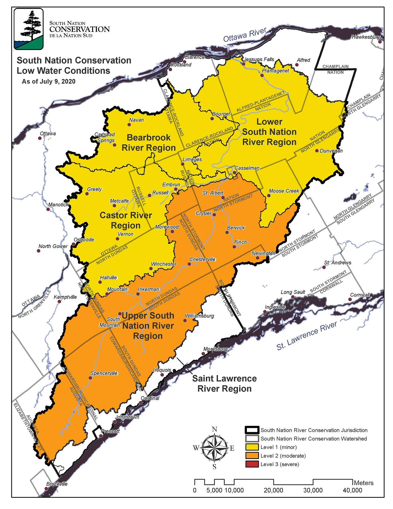 South nation conservation authority low water conditions map as of July 9, 2020.