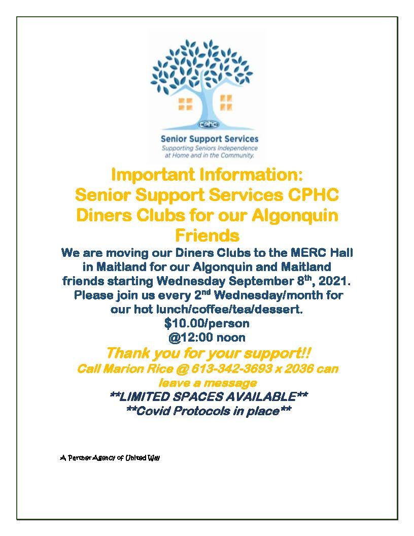 CPHC Diners Club Luncheon @ Maitland Education and Recreation Centre | Brockville | Ontario | Canada