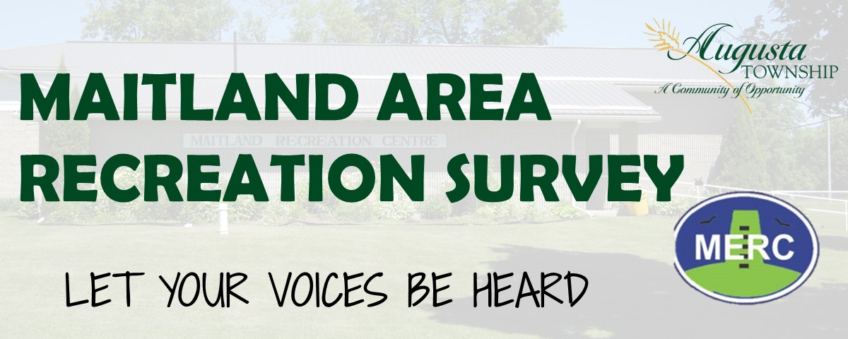Maitland Area Recreation Survey.  Let your voices be heard.  with augusta township logo and MERC logo