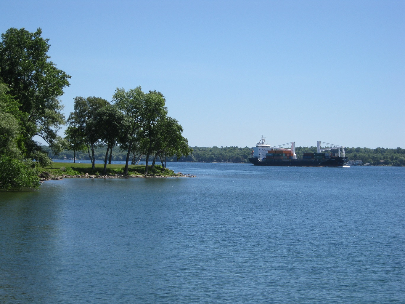 view of st. lawrence river from maitland lookout with a big ship in the water