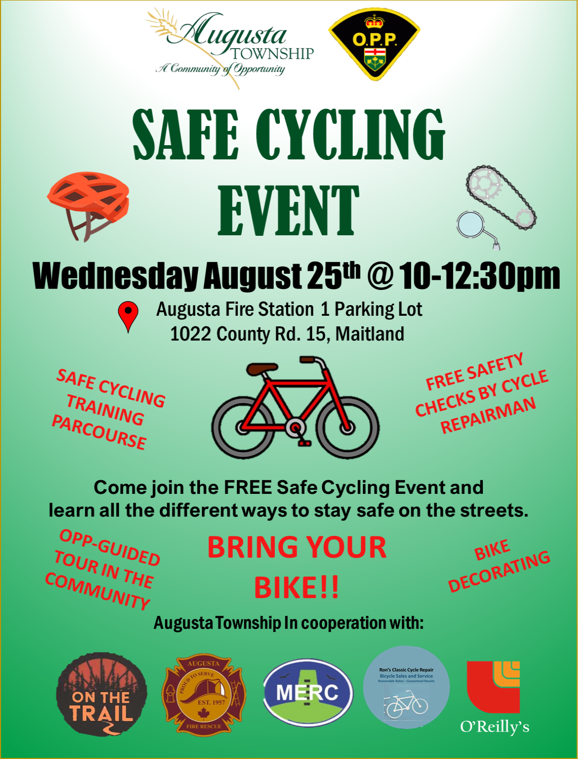 safe cycling event. wednesday august 28. 10-12:30 pm. augusta fire station 1 parking lot. 1022 county road 15, maitland. bring your bike.