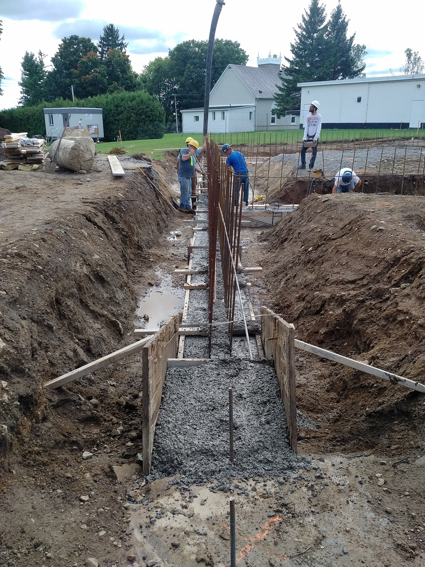 close up of foundation footings and rebar