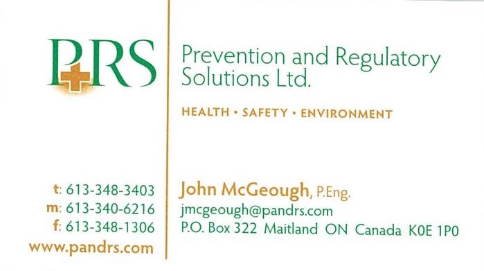 PRS Prevention & Regulatory Solutions Ltd. business card