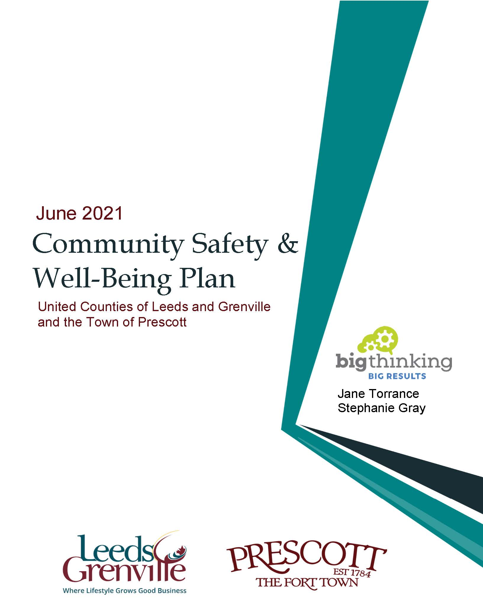 Cover page of the June 2021 Community Safety & Well-Being Plan for the United Counties of Leeds & Grenville and the Town of Prescott
