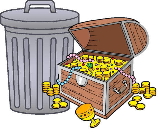 cartoon of a garbage can and a treasure chest