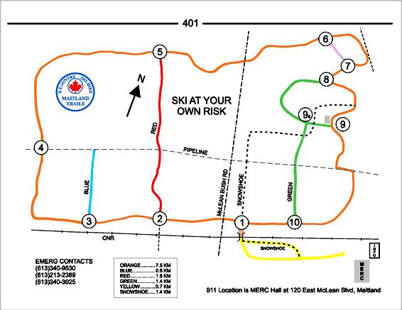 map outlining the different lengths of trails available