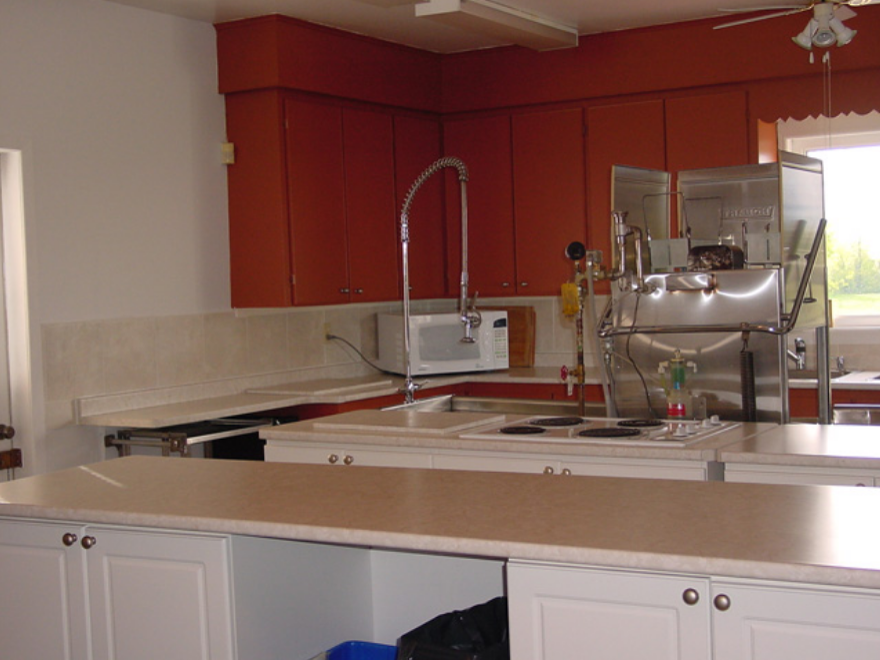 kitchen counters with fridge and cupboards and microwave