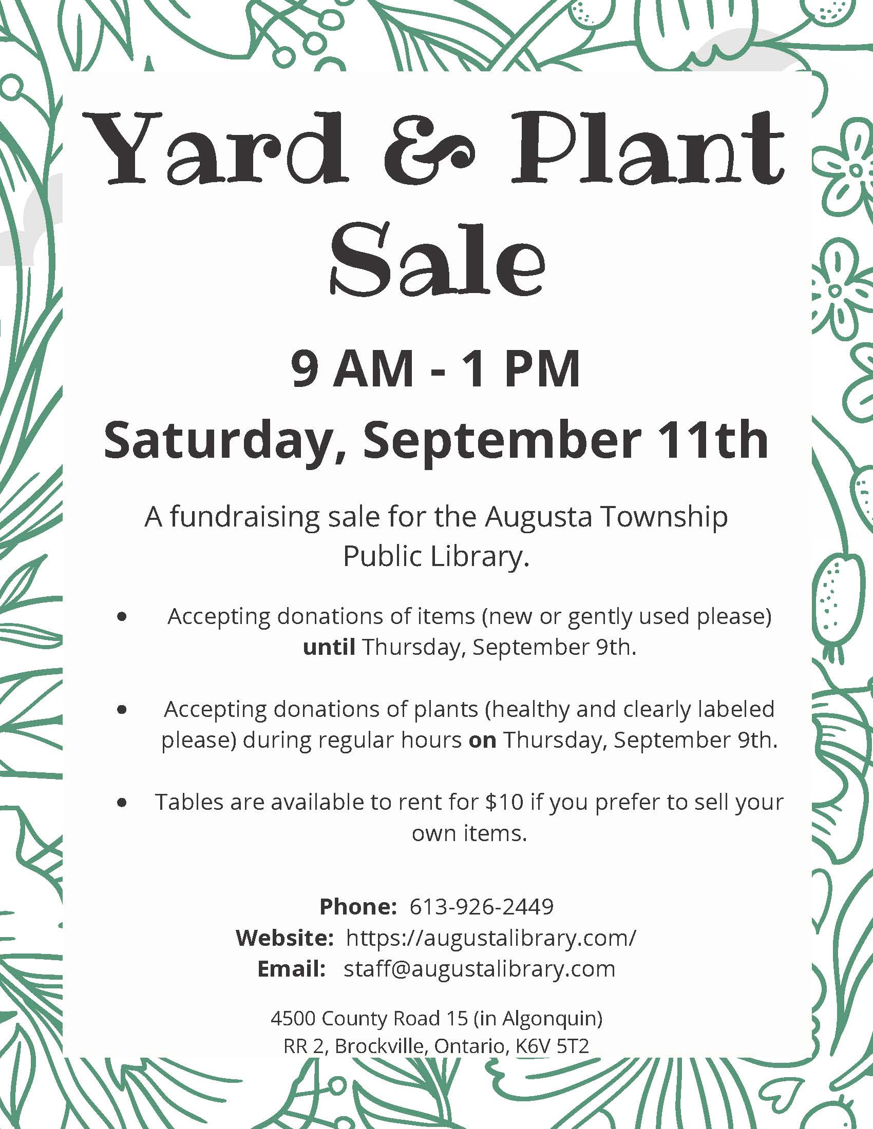 Library Yard & Plant Sale @ Augusta Township Public Library | Brockville | Ontario | Canada