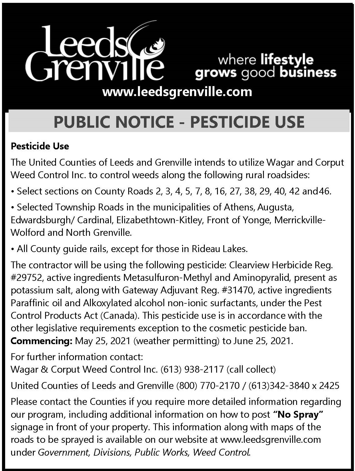 public notice from the united counties of leeds and grenville which is available on their website as text