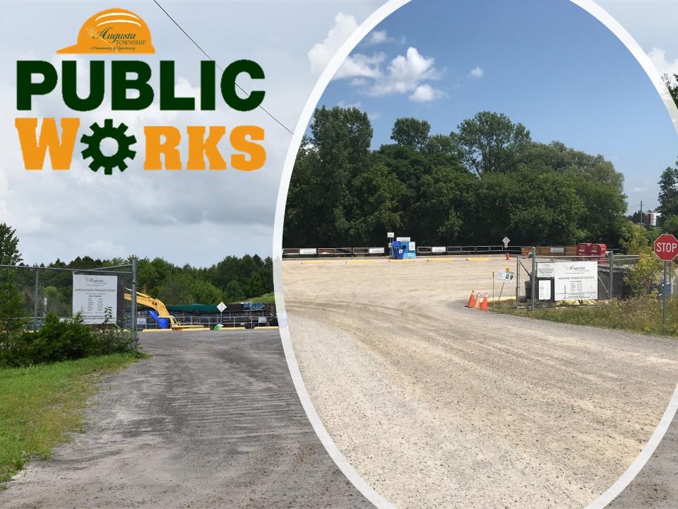 background photos of maynard & north augusta transfer sites, public works logo