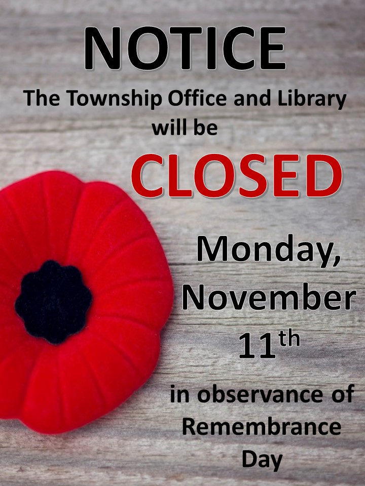 Remembrance Day - Township Office & Library are Closed