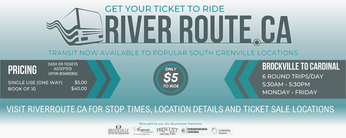 get your ticket to ride river route.ca. visit riverroute.ca for more information